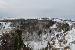 Cheddar Gorge in Somerset. View from the top of Cheddar Gorge in Somerset on a snowy day stock photos