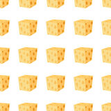 Cheddar, parmesan cheese seamless pattern. Dairy milky product. Made in cartoon flat style Royalty Free Stock Image