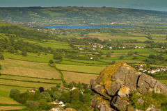 Cheddar reservoir viewed from Crook Peak Somerset Stock Images