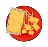 Cheddar Salami Cheese Slice Cubed on Plate Royalty Free Stock Photos