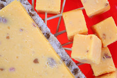 Cheddar Salami Cheese Slice Cubed up Close Stock Images