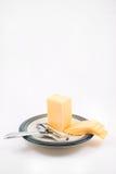 Cheddarkäse-Käse und Schneidmaschine Lizenzfreies Stockbild