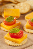 Chedder乳酪和薄脆饼干开胃菜 库存图片