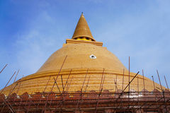 Chedi. Phra Pathom Chedi in Thailand during renovation Royalty Free Stock Images