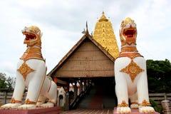 Chedi Buddhakhaya, built to mimic the Mahabodhi stupa of Bodhgay. A in India, is a symbol of Sangklaburi, Kanchanaburi, Thailand. It has hundreds of small metal Stock Photos