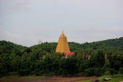 Chedi Buddhakhaya, die wordt gebouwd om Mahabodhi-stupa van Bodhgay na te bootsen Stock Foto's