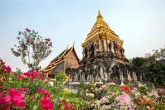 Chedi Chang Lom på Wat Chiang Man, Chiang Mai, Thailand Royaltyfri Bild