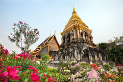 Chedi Chang Lom at Wat Chiang Man, Chiang Mai, Thailand Royalty Free Stock Image