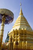 Chedi in Doi Suthep Temple. In this large templecomplex in Chiang Mai, you can see many buildings, statues an other religious relics of Buddhism royalty free stock photo
