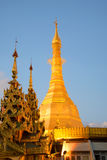 Chedi f the Sule pagoda close up in the evening twilight. Yangon, Burma Royalty Free Stock Image