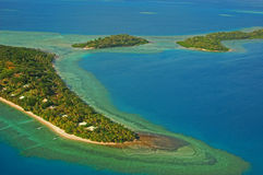 Chedi Island Fiji. Aerial shot over the Chedi group of Islands, Fiji Stock Image