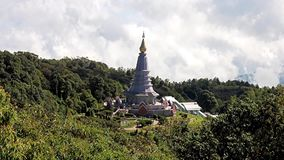 Chedi near the summit of mount Doi Inthanon stock footage