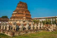 Chedi surrounded lion statues Wat Thammikarat temple Ayutthaya b Stock Images
