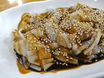 Chee Cheong Fun. Or Rice Noodle Roll is a popular dish in Malaysia and Singapore. It originates from Southen China Stock Image