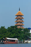 The Chee Chin Khor pagoda in Bangkok. The Chinese style Chee Chin Khor pagoda at the Chao Praya river in Thonburi, Bangkok with a traditional wooden ferry built royalty free stock photos