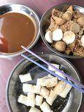 Chee Chong Fun. Malaysian Chinese style of noodles served with fish ball and fried tau fu skin Royalty Free Stock Photo