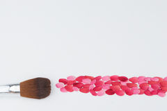 Cheek brush and pink and red petal Stock Photos