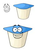 Cheeky cartoon yoghurt with a happy smile. Cheeky white and blue cartoon yoghurt with a happy smile with a second plain variation with a separate smiling face Royalty Free Stock Images