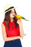 Cheeky Cockatiel parrot and woman Stock Photography