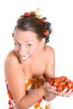 Cheeky Fruit Girl Stock Photo