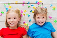 Cheeky kids. Royalty Free Stock Images