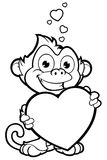 Cheeky Monkey Character In Black & White Stock Images