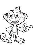 Cheeky Monkey Character In Black & White Royalty Free Stock Photo