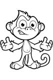 Cheeky Monkey Character In Black & White Royalty Free Stock Photography