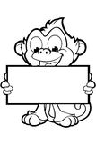 Cheeky Monkey Character In Black & White Royalty Free Stock Images