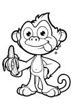 Cheeky Monkey Character In Black & White Stock Photo