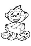 Cheeky Monkey Character In Black & White Stock Image
