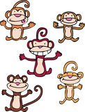 Cheeky Monkeys. Collection of five adorable cartoon monkeys Stock Images