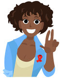 Cheer african girl with red ribbon shows peace. World AIDS Day cartoon vector illustration in flat style Stock Photos