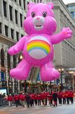Cheer Care Bear in Thanksgiving Street Parade. This photo was taken during the annual thanksgiving parade in Chicago stock image