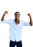 Cheer celebration man. Cheerful black african man celebration cheer in studio stock image