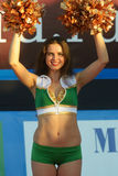 Cheer-dance during Euro Beach Soccer League Moscow 2014 Royalty Free Stock Photo
