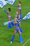 Cheer-dance group Dynamite. Moscow, Russia - July 21, 2014: Cheer-dance group Dynamite on the Opening Ceremony of the International soccer tournament Lev Yashin Royalty Free Stock Photography