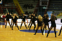 Cheer girls. Are dancing during the italian basket match napoli-san severo.april 2012 Royalty Free Stock Image