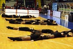 Cheer girls choreography. A choreography of cheer girls during the italian basket match napoli-san severo.april 2012 Stock Photos