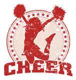 Cheer Jump Design - Vintage. Illustration of a cheer design in a vintage style with a jumping cheerleader silhouette, circle of stars and sunburst pattern royalty free illustration