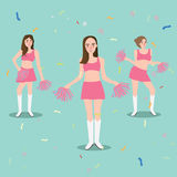 Cheer leader girl with pompoms sport beautiful young standing. Vector Stock Photo