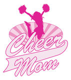 Cheer Mom Design. Is an illustration of a cheer design for cheerleaders moms. Includes a jumping cheerleader, sunburst oval and Cheer Mom text vector illustration