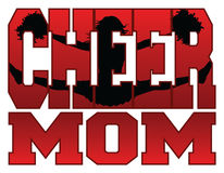 Cheer Mom. Illustration of a cheer design for cheerleaders moms. Includes a jumping cheerleader embedded in the word cheer vector illustration
