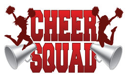 Cheer Squad. Illustration of a cheer squad design for cheerleaders. Includes a two jumping cheerleaders and megaphones royalty free illustration