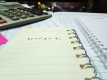 Cheer up concept. Working concept and stationery with the word do not give up stock images