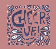 Cheer up. Vector illustration. Cheer up motivational poster. Square card with inspirational quote. Stylized words with design elements. Vector color stock illustration