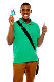 Cheer up its shopping time. Thumbs up Royalty Free Stock Photo