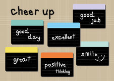 Cheer up wording post it brown background. Cheer up wording post it stick on notebook vector illustration