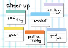 Cheer up wording post it white graph background Stock Photo