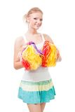 Cheer van de vrouw leider met pompoms stock foto's